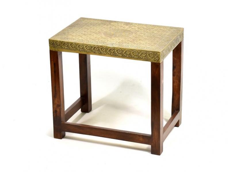Stolička z palisandrového dřeva zdobená mosazným kováním, 52x35x45cm