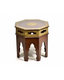 Stoleček/stolička z palisandrového dřeva zdobená mosazným kováním, 45x45x45cm