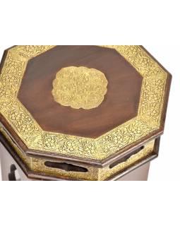 Stolička z palisandrového dřeva zdobená mosazným kováním, 30x30x30cm