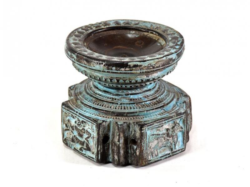 Antik svícen, teak, vyřezávaný, tyrkysový,, 15x15x13cm