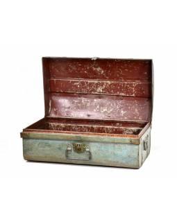 Plechový kufr, antik, tyrkysový, 68x39x28cm