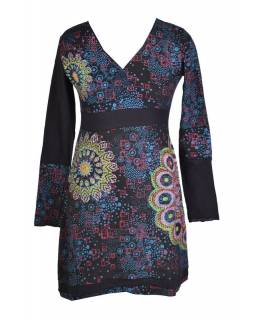 Černé šaty s dlouhým rukávem, květinový potisk, výšivka, V výstřih
