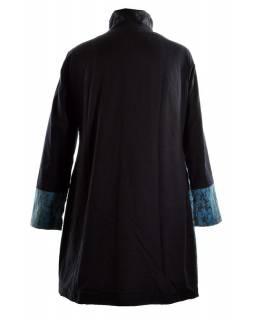 Černo modrý kabátek se stojatým límcem, mix tisků a kapsy, zip