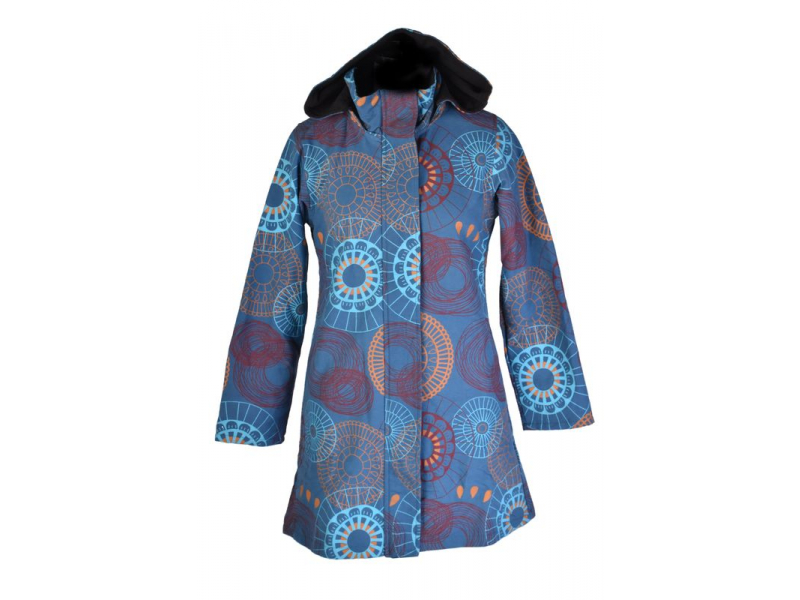 Modrý dámský kabát s kapucí zapínaný na zip, barevný mandala potisk, kapsy