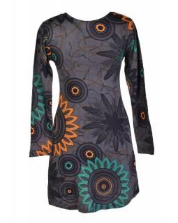 Šedé šaty s dlouhým rukávem, Flower Mandala potisk, kulatý výstřih