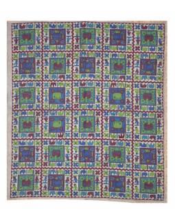 Přehoz se slony, batika, 230x210cm