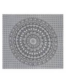 Přehoz se sloní mandalou, černo bílý, 230x200cm