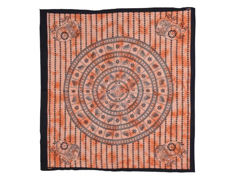 Přehoz se sloní mandalou, oranžová batika, 230x200cm