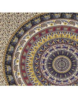Přehoz na postel, Mandala se slony a jeleny, 230x200cm