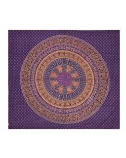 Přehoz s mandalou, sloni a pávy, fialový, 230x200cm