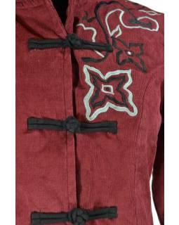 Manžestrový kabátek s kapucí, vínovo-černá, květinová výšivka, knoflíčky, kapsy