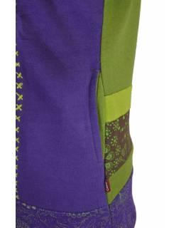 Dámská mikina s kapucí, zelená, mix tisků a výšivka, zip,kapsy