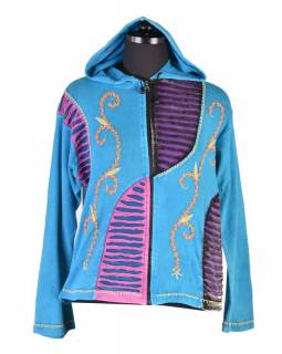 Tyrkysová mikina s kapucí a barevnou výšivkou, prostřihy, zip, kapsy