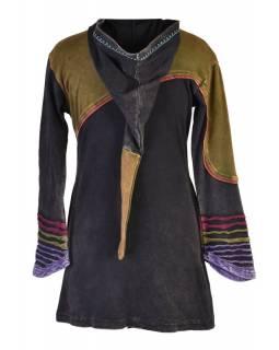 Prodloužená černá mikina s kapucí a barevnou výšivkou, prostřihy, zip, kapsy