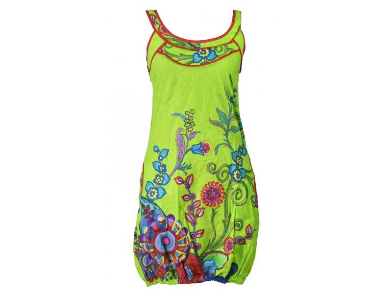 """Limetkově zelené balonové šaty bez rukávu """"Flower design"""", kapsy"""