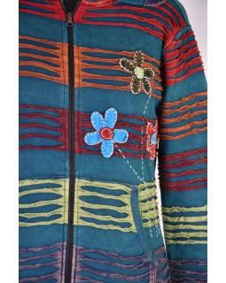 Modrá mikina s kapucí a barevnou výšivkou, prostřihy, zip, kapsy