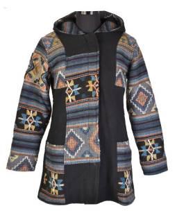Černo-šedý kabát s vlněným vzorek a kapucí, zip, kapsy, suchý zip