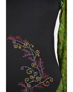 Černo-khaki šaty s dlouhým rukávem, potisk a ruční výšivka
