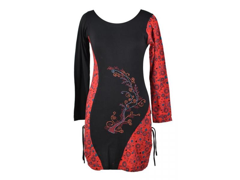 Černo-červené šaty s dlouhým rukávem, potisk a ruční výšivka