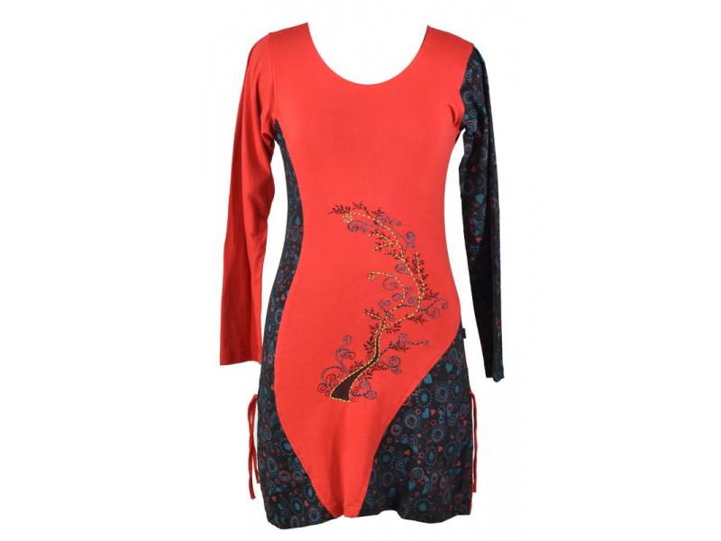 Červeno-černé šaty s dlouhým rukávem, potisk a ruční výšivka