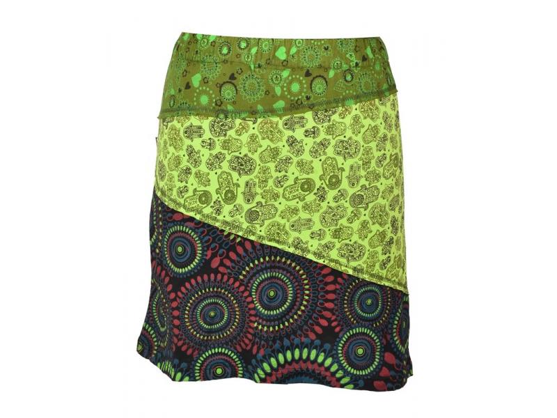 """Krátká zelená sukně """"Hamsa"""", mix print, elastický pas"""