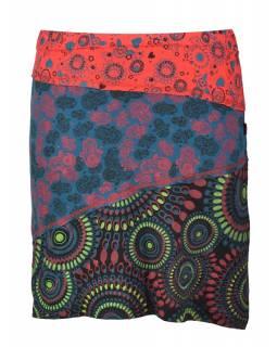 """Krátká červeno-petrolejová sukně """"Hamsa"""", mix print, elastický pas"""