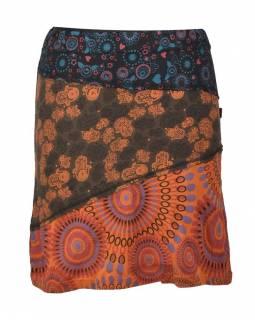 """Krátká hnědá sukně """"Hamsa"""", mix print, elastický pas"""