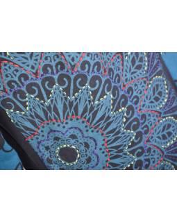 Černo-petrolejové tričko s krátkým rukávem a potiskem květin, výšivka, V výstřih