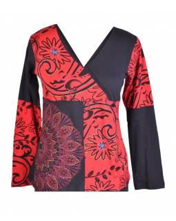 Černo-červené tričko s krátkým rukávem a potiskem květin, výšivka, V výstřih