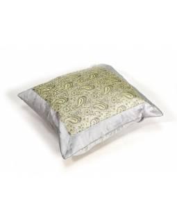 Šedý saténový povlak na polštář s výšivkou paisley, zip, 40x40cm