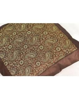 Hnědý saténový povlak na polštář s výšivkou paisley, zip, 40x40cm