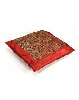 Červený saténový povlak na polštář s výšivkou paisley, zip, 40x40cm