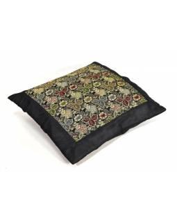 Černý saténový povlak na polštář s výšivkou paisley, zip, 40x40cm