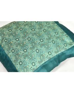 Mint saténový povlak na polštář s výšivkou paisley, zip, 40x40cm