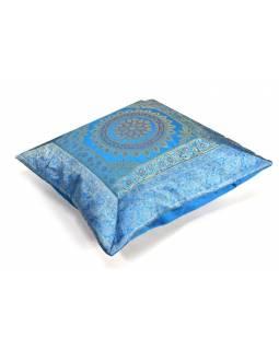 Modrý saténový povlak na polštář s výšivkou mandala, zip, 40x40cm