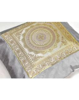 Šedý saténový povlak na polštář s výšivkou mandala, zip, 40x40cm