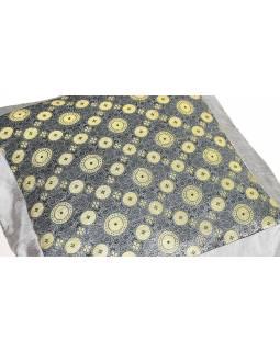 Šedý saténový povlak na polštář s výšivkou koleček, zip, 40x40cm