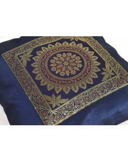 Tmavě modrý saténový povlak na polštář s výšivkou mandala, zip, 40x40cm