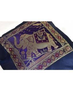 Tmavě modrý saténový povlak na polštář s výšivkou slon, zip, 40x40cm