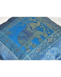 Modrý saténový povlak na polštář s výšivkou slon, zip, 40x40cm