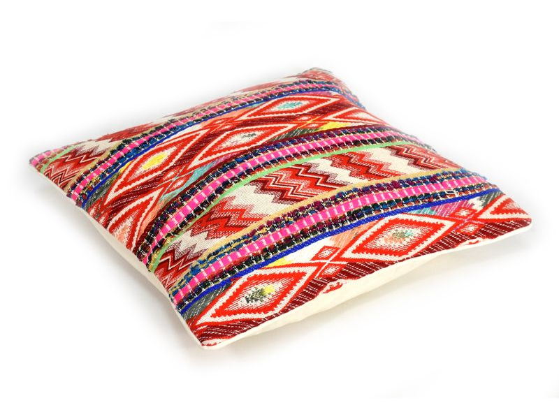 Barevný povlak na pošltář s barevnou výšivkou, Ikath design, zip, 40x40cm