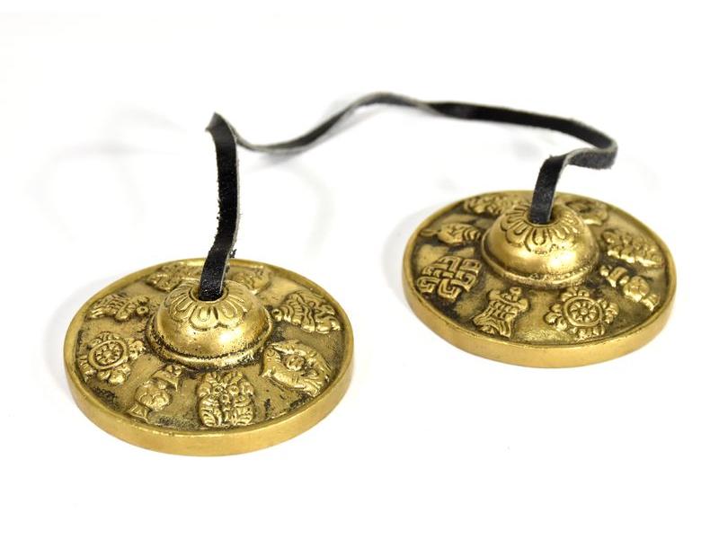 """Tibetské meditační činelky """"Tinchu"""", relief Astamangal, prům. 6,5cm"""
