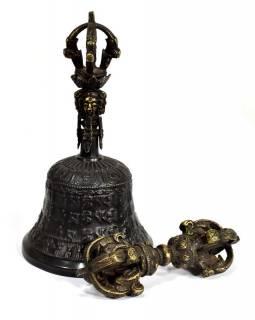 Tibetský zvon a dorje,bronzová barva, ornament, 16cm