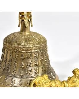 Tibetský zvon a dorje,zlatá barva, ornament, 19cm