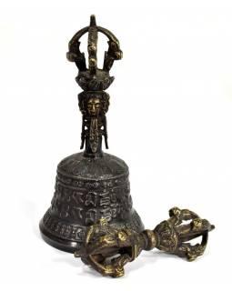 Tibetský zvon a dorje,bronzová barva, ornament, 15cm