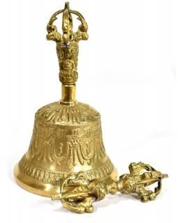 Tibetský zvon a dorje,mosazná barva, ornament, 17cm