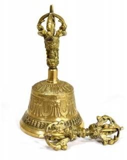 Tibetský zvon a dorje,mosazná barva, ornament, 15cm