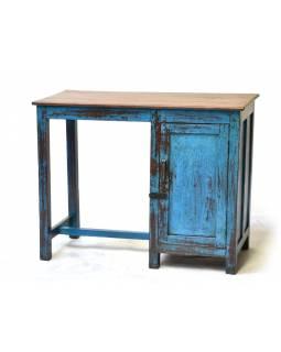 Starý psací stůl z teakového dřeva, tyrkysová patina, 96x45x76cm
