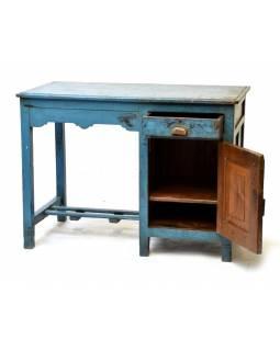 Starý psací stůl z teakového dřeva, tyrkysová patina, 107x60x79cm