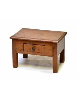 Starý kupecký stolek se šuplíkem z teakového dřeva, 49x33x32cm